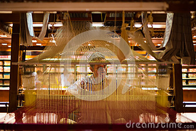 Indian Sari Weaver Hand Loom Inside Editorial Stock Photo