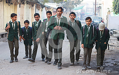 Indian school boys Editorial Photography