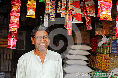 Indian Shop Keeper Editorial Photo