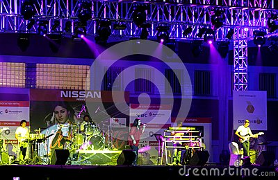 Indian singer Sunidhi Chauhan performs at Bahrain Editorial Image