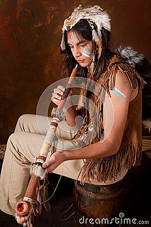 Indian smoking peace pipe
