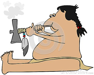 Indian smoking a tomahawk peacepipe