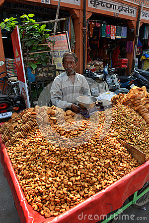 Indian Snack on Street, Jaipur Editorial Stock Photo
