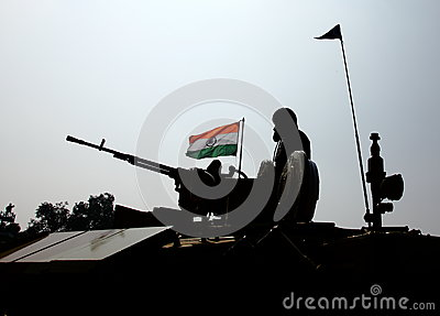 Indian Soldier and Indian National Flag. Editorial Stock Photo