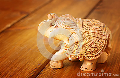Indian Statuette elephant on wooden table