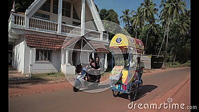 Indian street ice cream vendor. With cart. Goa-India stock footage