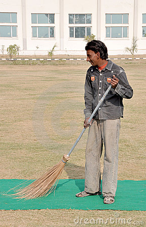 Indian street sweeper Editorial Image