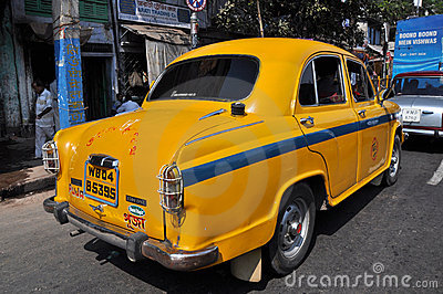 Indian Taxi in Traffic Jam Editorial Photography