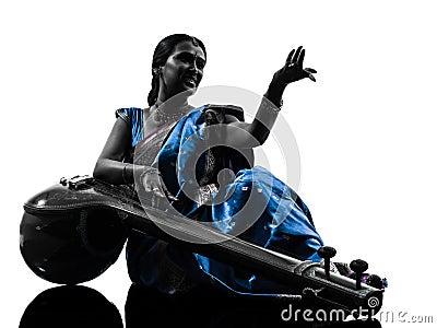Indian tempura musician woman   silhouette