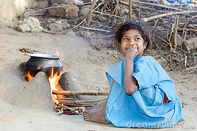 Indian tribal child in the village Editorial Stock Image