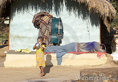Indian tribal man and child Editorial Photography