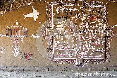 Indian tribal mural Editorial Image