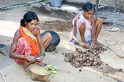 Indian tribal women in the village Editorial Stock Image