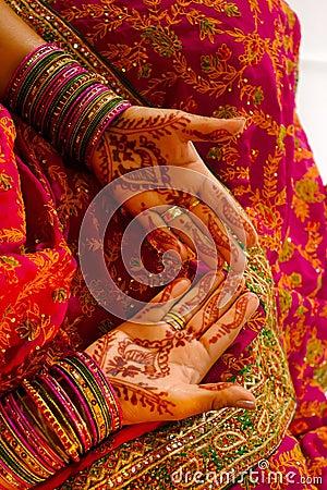 Free Indian Wedding Bride Getting Henna Applied Stock Photos - 5233883