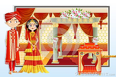 Indian Wedding Couple Vector Illustration
