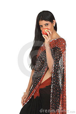 Indian woman with apple