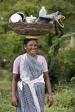 Indian Woman - Balance - Carry - India Editorial Image