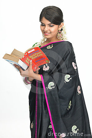 Indian woman with books