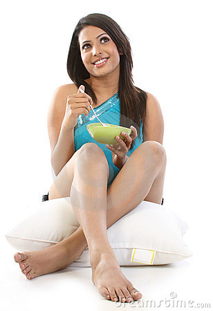Indian Woman with bowl of breakfast