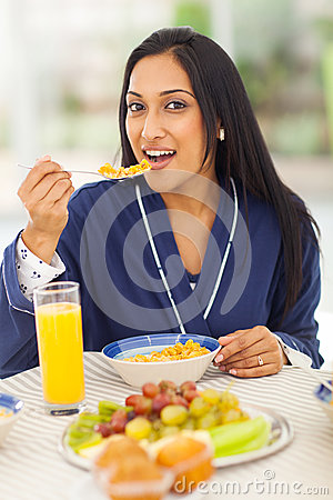 Free Indian Woman Breakfast Stock Image - 31624821
