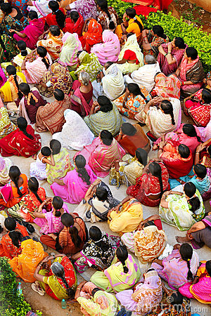 Indian woman crowd Editorial Image