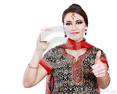 Indian woman hold card