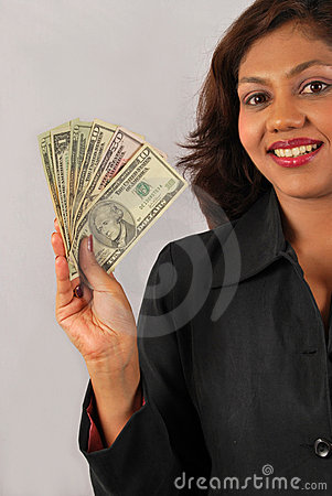 Indian Woman Holding Money Stock Image - Image: 14192671