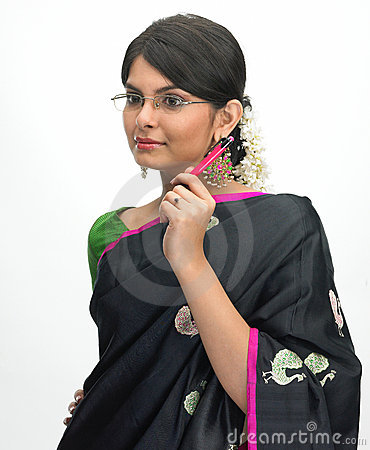 Indian woman with pen and specs