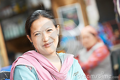 Indian Woman in a Sari Smiling