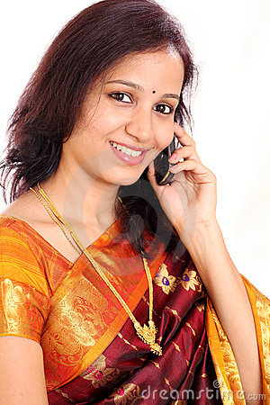 Indian woman taling on mobilephone