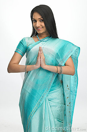 Indian woman in welcome expression