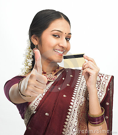 Free Indian Woman With Credit Card Royalty Free Stock Photography - 7947187