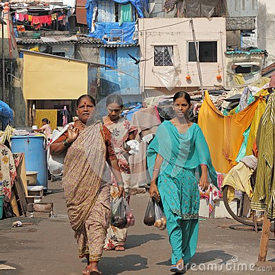 Indian women in district of slums Editorial Photo