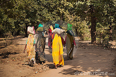 Indian women return to village Editorial Image