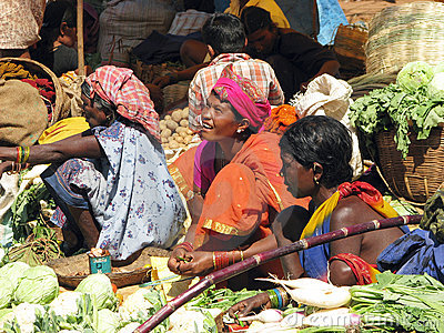 Indian women in the rural area market Editorial Stock Image