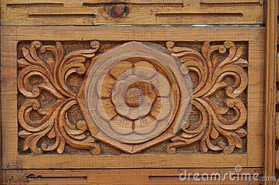Indian wood ornament of door fragment