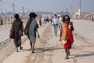 Indian worshipers rushing Editorial Stock Photo