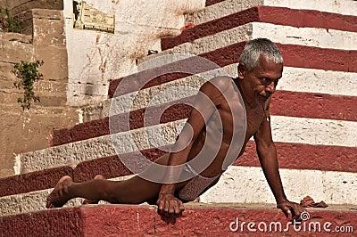 Indian wrestler excercising Editorial Stock Photo