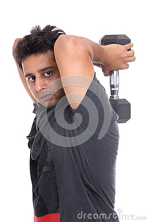 Indian young man doing triceps workout
