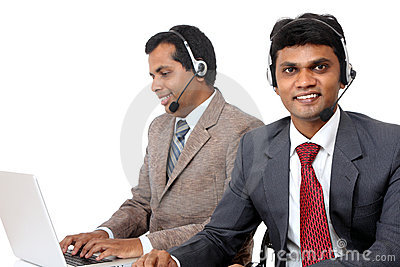 Indian young people working in call center
