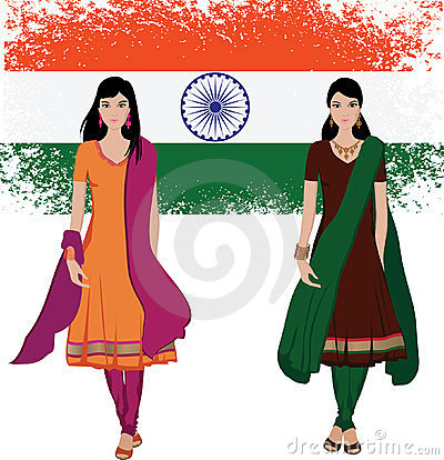 Indian young woman with flag background
