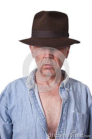 Indiana Jones Look Sexy Man with Fedora Hat