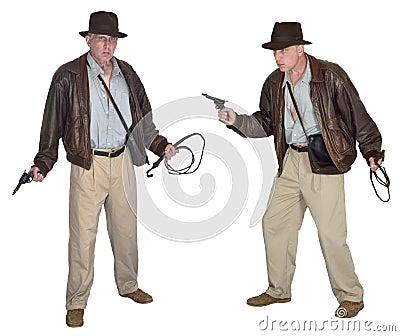 Indiana Jones Style Action Hero Isolated