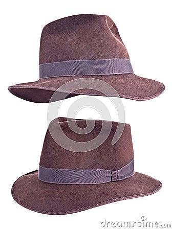Indiana Jones Style Felt Fedora Hat Isolated