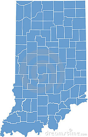 Indiana State map  by counties