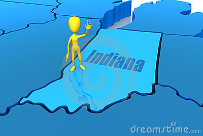 Indiana state outline with yellow stick figure