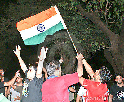 Indians celebrating cricket match victory. Editorial Image