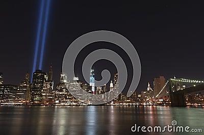 Indicatori luminosi di tributo dell 11 settembre