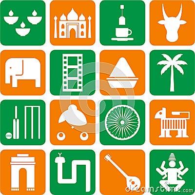 Einige piktogramme die indien und seine traditionen darstellen