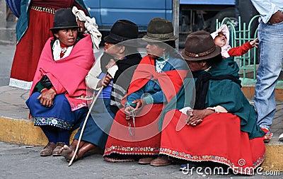 Indigence Ecuadorian women Editorial Photo
